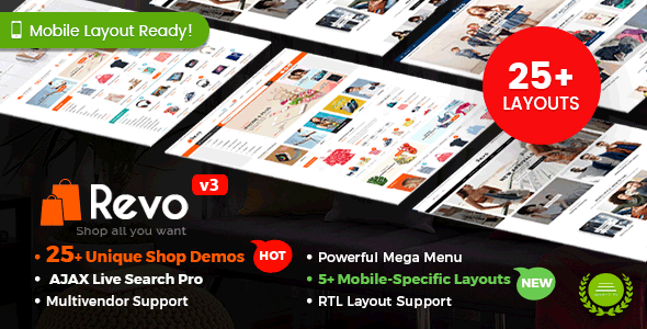 Revo - Multipurpose WooCommerce WordPress Theme (25+ Homepages & 5+ Mobile Layouts)
