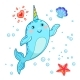 Cute Cartoon Kawaii Narwhals with Rainbow Horn - GraphicRiver Item for Sale