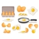 Eggs Set, Boiled and Fried in Skillet, in Carton - GraphicRiver Item for Sale