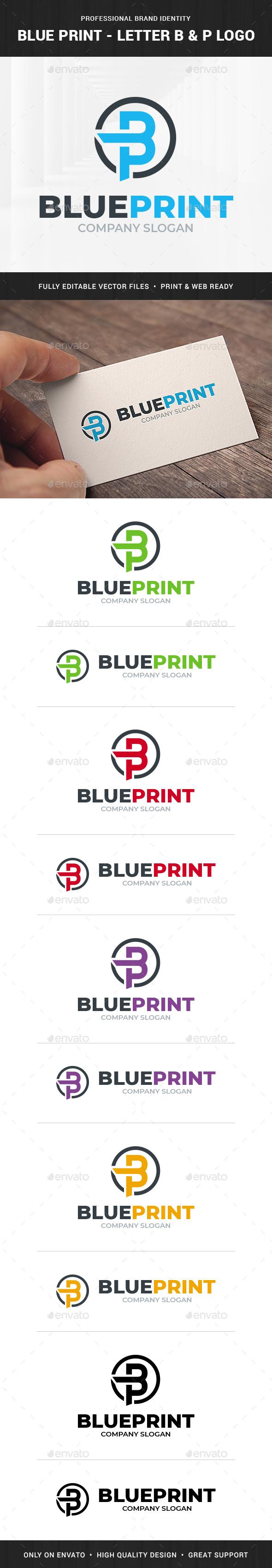 BluePrint - Letter B & P Logo