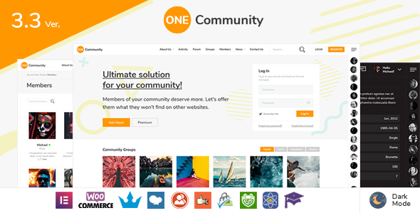 OneCommunity - BuddyPress Community Theme with Likes and Achievements & LMS Education Courses