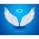 White Angel Wings and Shining Nimbus - GraphicRiver Item for Sale