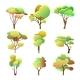Set of Colorful Trees Different Shapes with Leaves - GraphicRiver Item for Sale