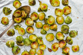 Top view of roasted brussel sprouts on a foil. - PhotoDune Item for Sale