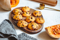 Pumpkin cookies with chocolate chips made from cake mix on a wooden tray - PhotoDune Item for Sale