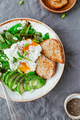 Fried snow peas, avocado, poached eggs are sprinkled chia seeds with toasts - PhotoDune Item for Sale