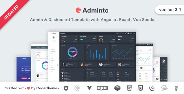Adminto - Admin Dashboard Template with Angular, React, Vue Seeds