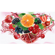 Berries and Citrus Mix into of Splashes of Juices in Triangular Composition - GraphicRiver Item for Sale