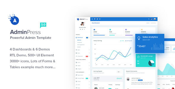 Admin Press - Ultimate & Powerful Bootstrap 4 Dashboard Template