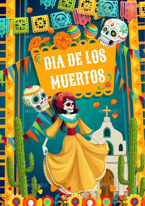 Day of Dead Catrina Calavera Woman and Paper Flags