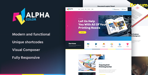 AlphaColor | Type Design & Printing Services WordPress Theme