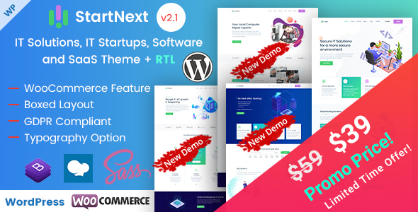 StartNext - IT Startups and Digital Services WordPress Theme
