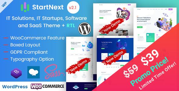 StartNext - IT Startups and Digital Services WordPress Theme