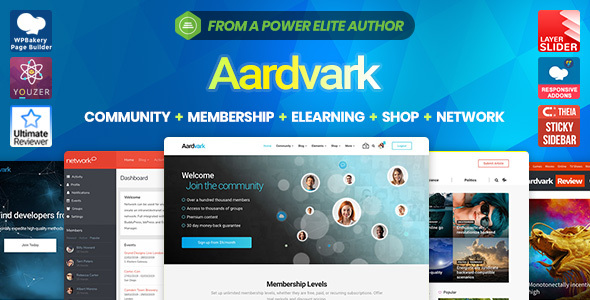 Aardvark - Community, Membership, BuddyPress Theme