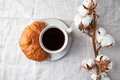 Cup of black coffee with croissant on  table - PhotoDune Item for Sale