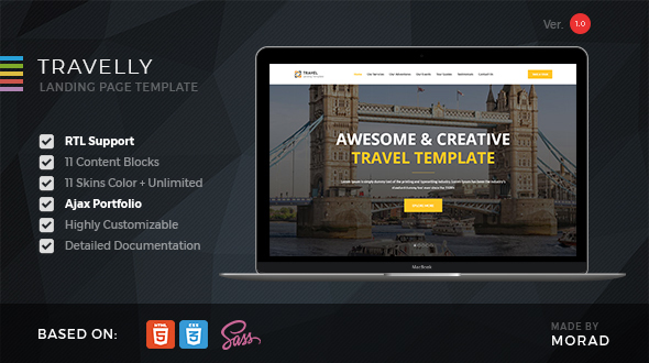 Travelly - Tourism & Agency HTML Landing Page