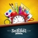 Back To School Design with Alarm Clock, Colorful - GraphicRiver Item for Sale