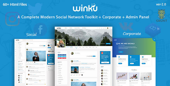 Winku - Social Network Toolkit & Corporate Responsive Template