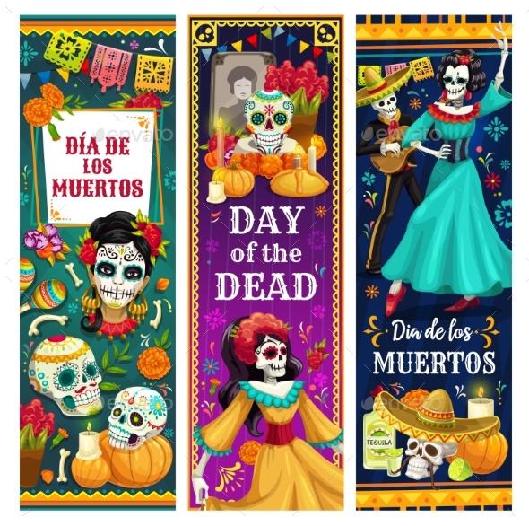 Dead Day Skulls, Skeletons, Altar. Mexican Holiday