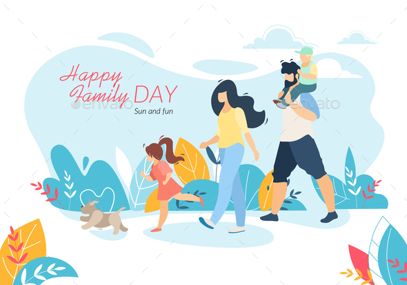 Happy Family Day Banner, Outdoor Walking with Kids