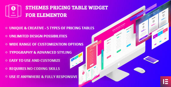 Pricing Table Widgets by SThemes for Elementor Page builder