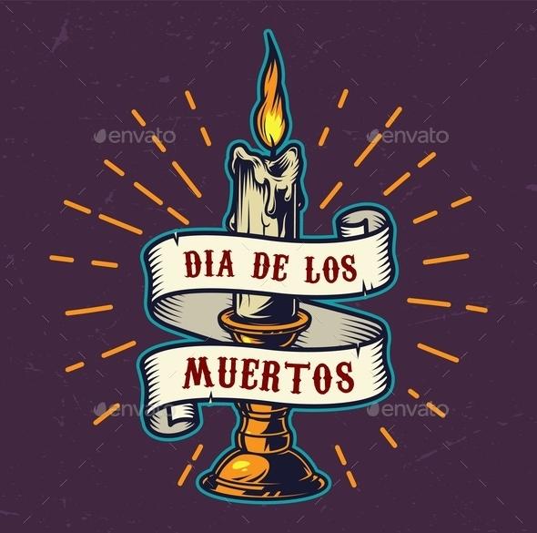 Dia De Los Muertos Colorful Emblem