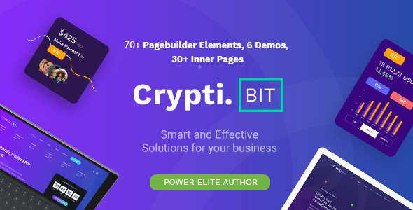 CryptiBIT – Technology, Cryptocurrency, ICO/IEO Landing Page WordPress theme Free Download