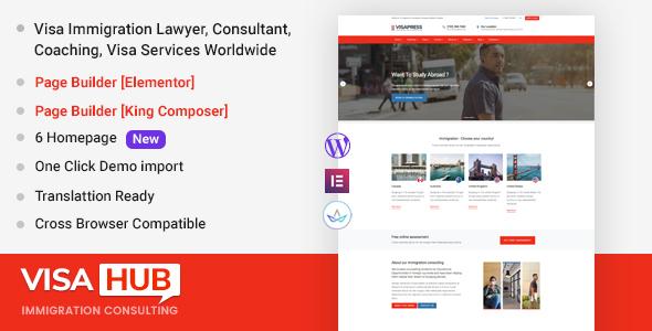 VisaHub - Immigration Consulting WordPress Theme