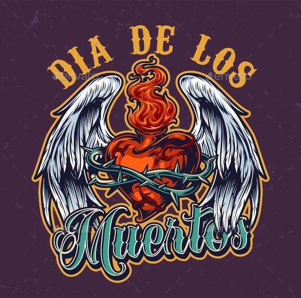 Day of Dead Colorful Vintage Emblem