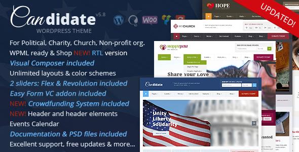 Kandydat - motyw polityczny / non-profit / kościół WordPress