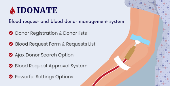 IDonatePro - Blood Donation, Request And Donor Management WordPress Plugin