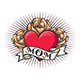 Old School Tattoo of Heart and Roses - GraphicRiver Item for Sale