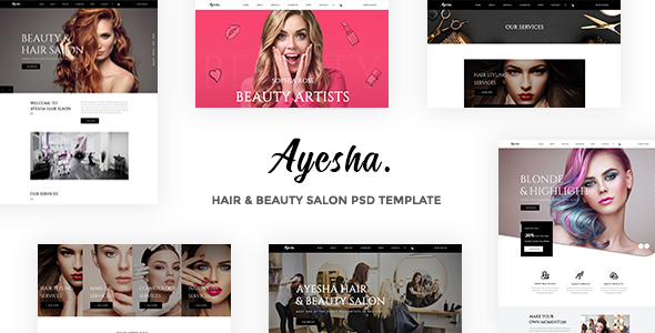 Ayesha - Hairdressers and Beauty Salons PSD Template