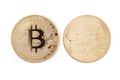 Bitcoin front and back, golden coins isolated on white - PhotoDune Item for Sale