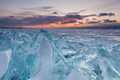 Colorful sunset over the crystal ice of Baikal lake - PhotoDune Item for Sale