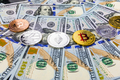 Bitcoin and cryptocurrency on banknotes of one hundred dollars - PhotoDune Item for Sale