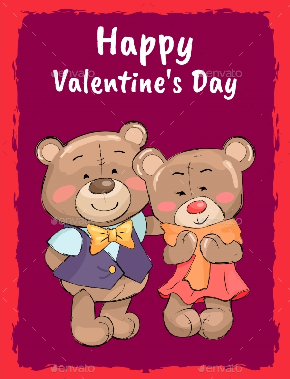 Happy Valentines Day Poster Teddy Family