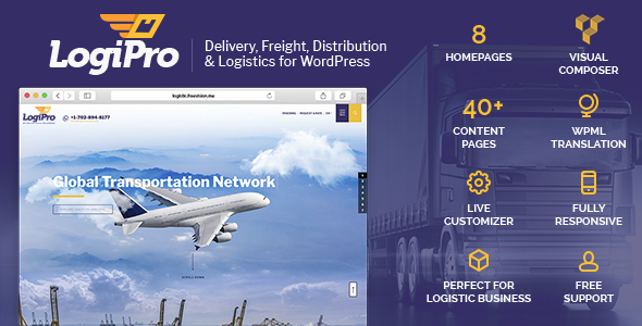 LogiPro - Delivery, Freight, Distribution & Logistics for WordPress