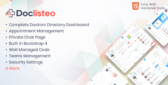 Doclisteo - Responsive Doctors Directory Dashboard Template