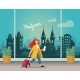 Girl with a Suitcase at the Airport in Prague - GraphicRiver Item for Sale