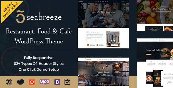 Seabreeze – Restaurant and Cafe WordPress Theme Free Download