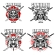 Emblem Template with Samurai Helmet and Katans - GraphicRiver Item for Sale