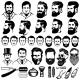 Set of Vintage Barber Monochrome Icons - GraphicRiver Item for Sale