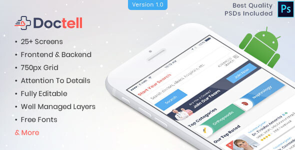 Doctell - Doctors Directory Mobile APP PSD