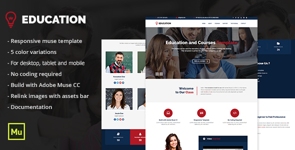 Responsive Education Adobe Muse Template