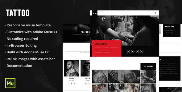 Responsive Tattoo Salon Muse Template
