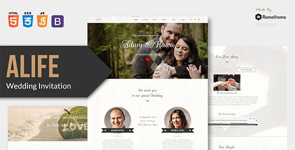 Alife - Wedding Invitation HTML Template