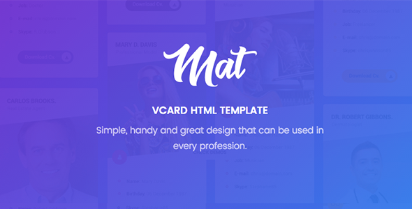 Download Mat – vCard & Resume Template Nulled