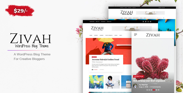 Zivah - WordPress Blog Theme For Creative Bloggers