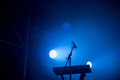 Keyboard and microphone in blue stage lights - PhotoDune Item for Sale